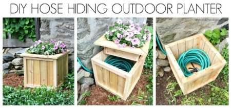 hide hose outdoor planter diy