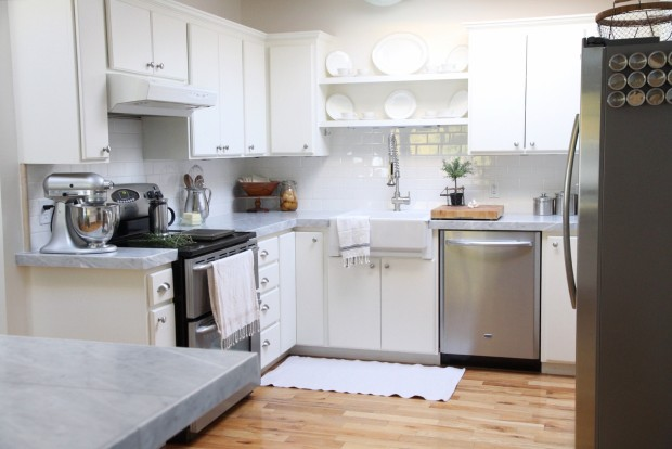 ... White Kitchen Makeover With Marble Tile Countertops And Subway Tile  Backsplash