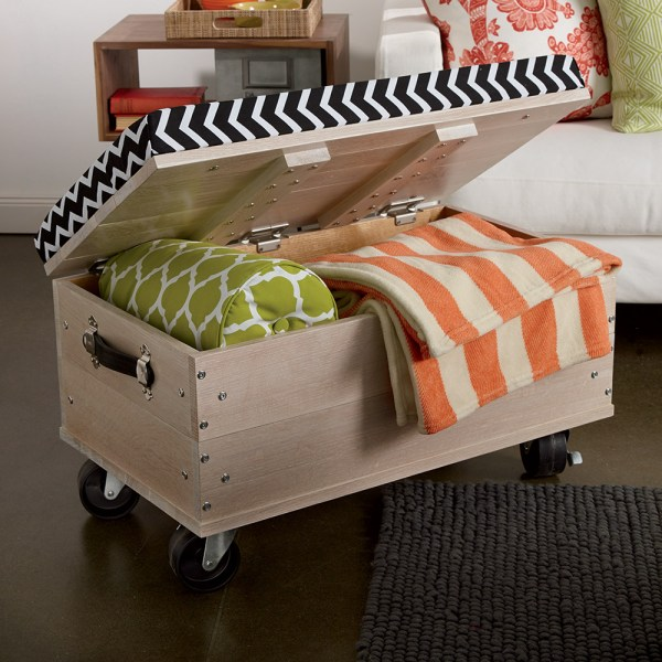 DIY ottoman with blanket storage