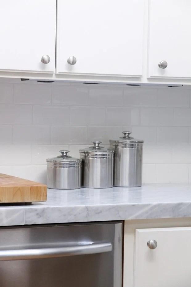 Kitchen tiles countertops Reglazing Selfinstall Marble Tile Countertop Over Existing Laminate Countertop Tile Backsplash Applied Over White Kitchen Retro Renovation Remodelaholic Kitchen Minimakeover With Affordable Tiled Diy
