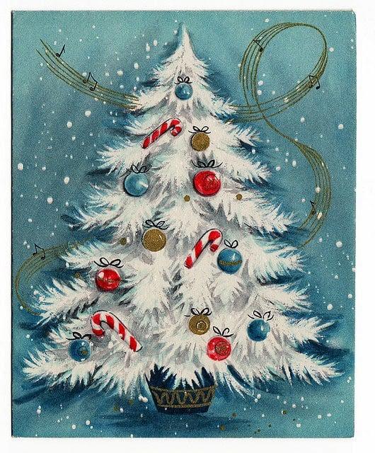 Classic vintage white Christmas tree! Free printable image