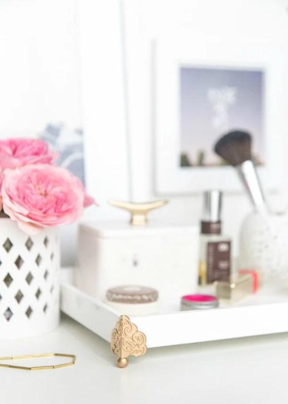 update a basic vanity tray with brass feet via Lulus Blog