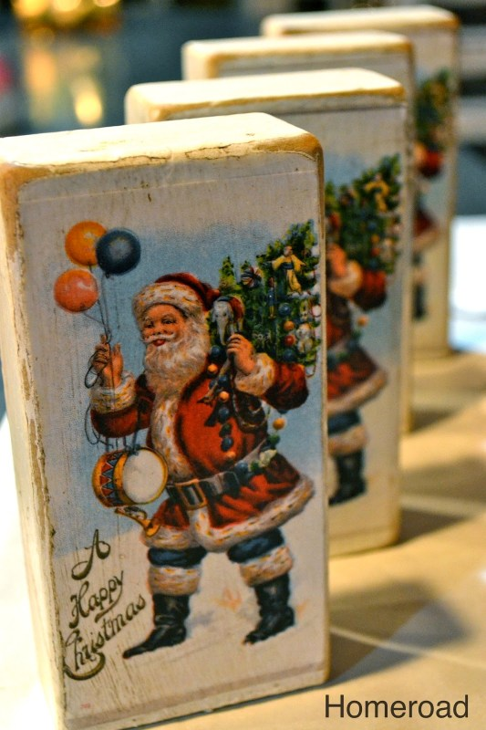 use vintage Christmas cards on wood blocks for easy holiday decor