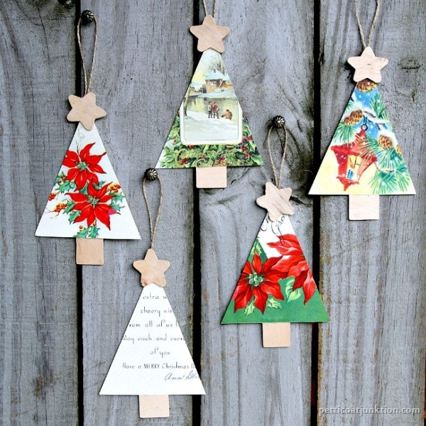 vintage Christmas card ornaments Petticoat Junktion