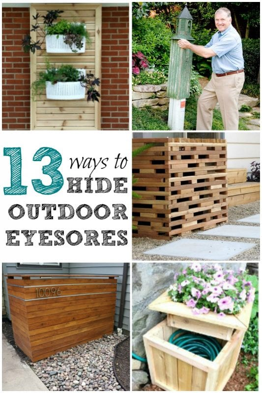 Add curb appeal with these easy ways to hide outdoor eyesores like utility meters, air conditioning units, and garden hoses.