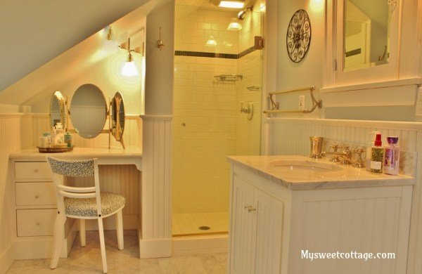 10 How to create a bathroom in a dormer window, 1920s cottage remodel using carrera marble, My Sweet Cottage featured on @Remodelaholic
