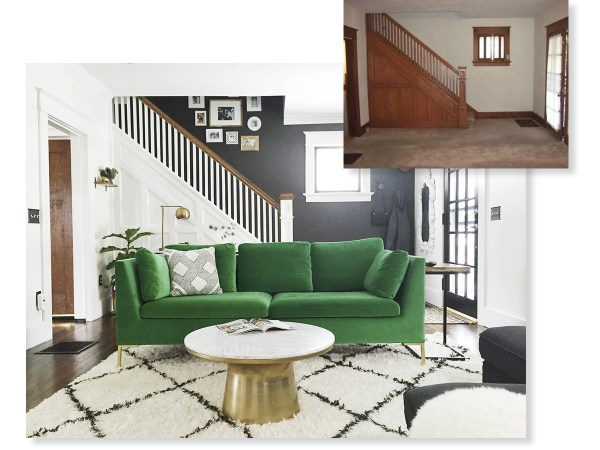 living room and entryway renovation, from dated solid wood to modern and colorful Carpendaughter on @Remodelaholic