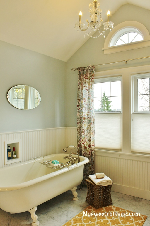 9 Dormer window bathroom, 1920s cottage authentic remodel with claw foot tub, My Sweet Cottage featured on @Remodelaholic