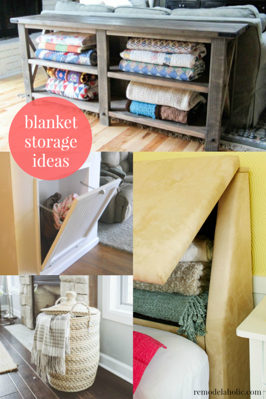 I need these in my family room! Easy Ways to Store Blankets @Remodelaholic