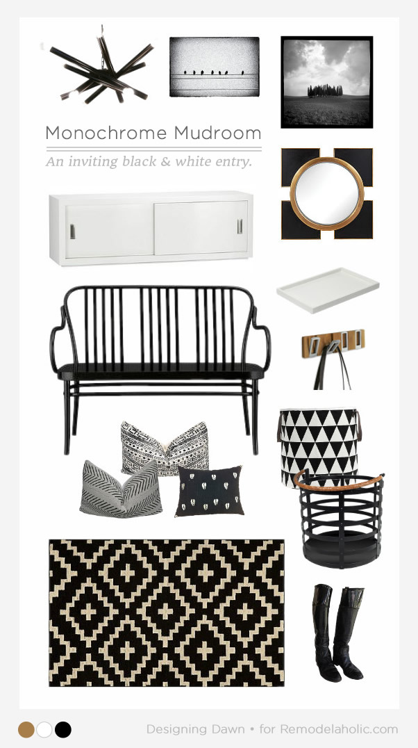 Learn to create an inviting black and white entryway, for a monochrome mudroom that is both chic and functional. Designing Dawn for Remodelaholic.com
