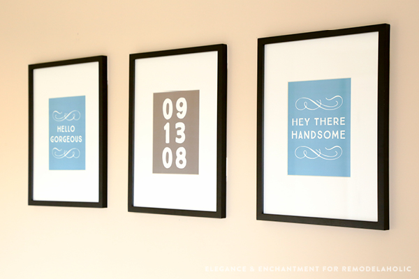 "His and hers art printables by Elegance and Enchantment for Remodelaholic. ""Hello Gorgeous"" and ""Hey There Handsome"" plus a bonus anniversary printable (customizable using Adobe Reader)."