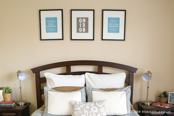 His and Hers master bedroom art printables with custom anniversary date art #remodelaholic