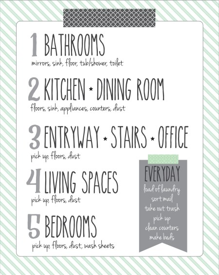 cleaning schedule for even when you're busy, Sincerely Sara D
