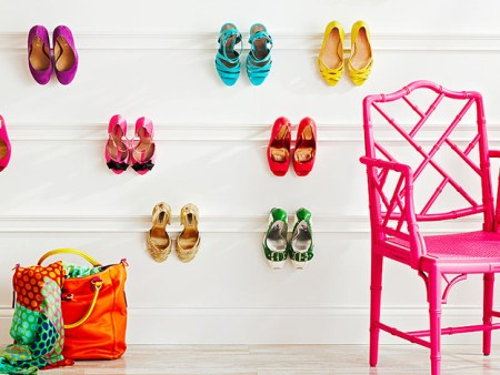 colorful shoes hanging on molding @ remodelaholic