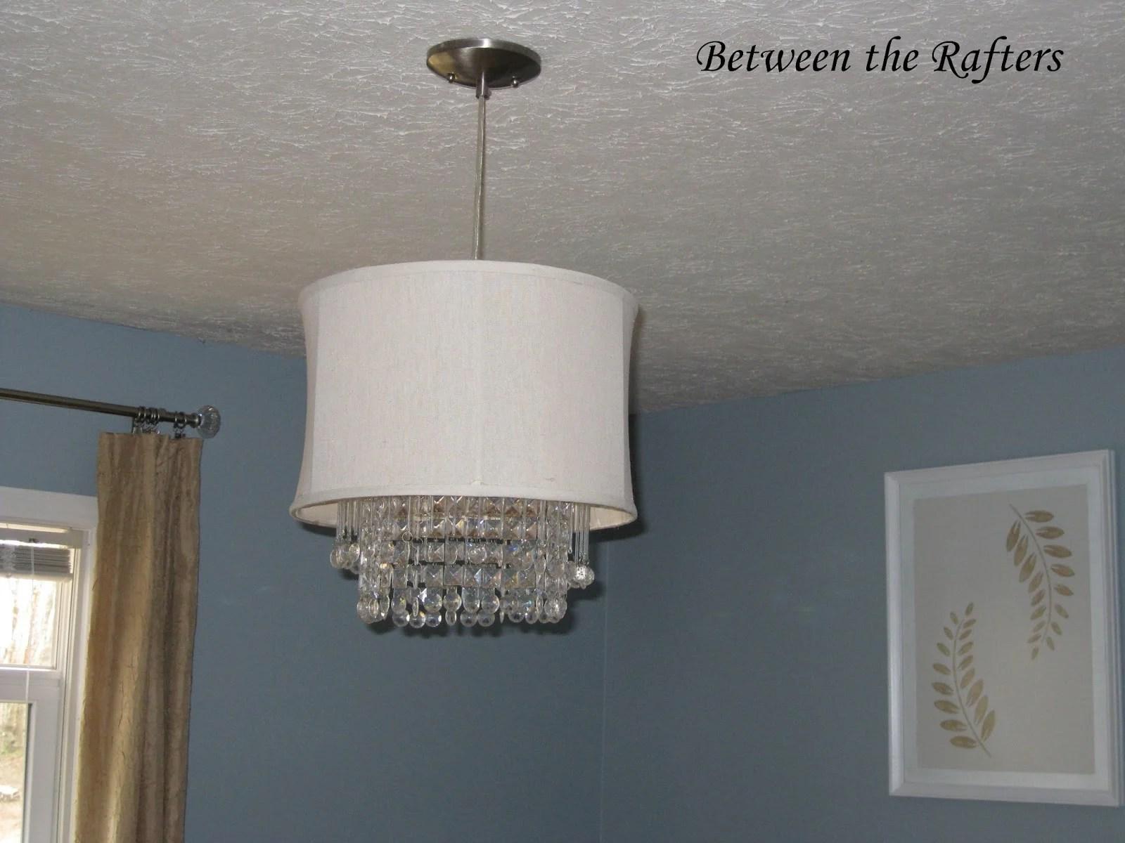 Remodelaholic 25 gorgeous diy chandeliers diy chandelier drum shade crystals arubaitofo Choice Image
