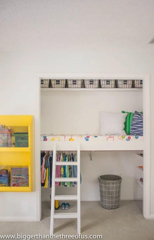 diy closet loft bed for kids
