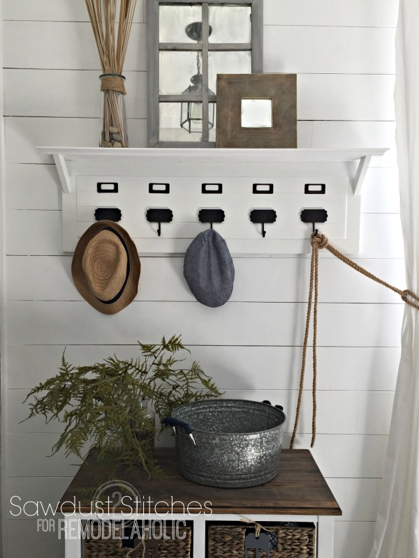 Awesome entryway organizer, DIY project | 100+ Beautiful Mudrooms and Entryways at Remodelaholic.com
