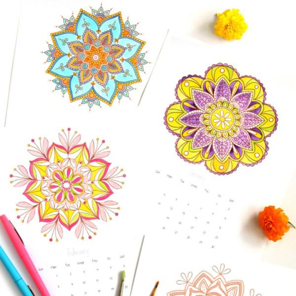free print and color mandala calendar for 2016, A piece of rainbow