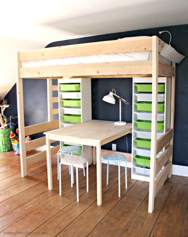 loft bed with lego storage and play table