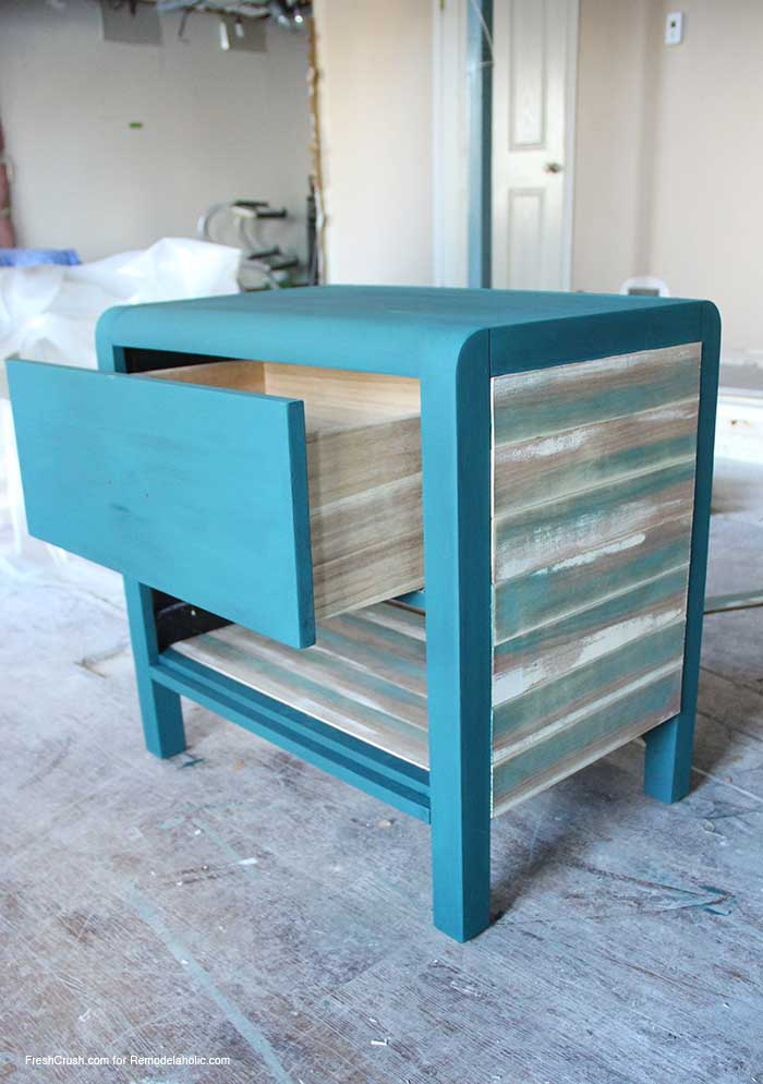 use faux stained and painted barn boards to update a boring piece of furniture // Nightstand Makeover by FreshCrush for @Remodelaholic