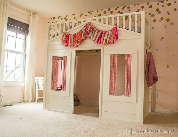 playhouse kid cottage loft bed diy