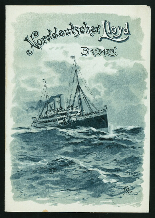 vintage German menu with monochrome ship NYPL