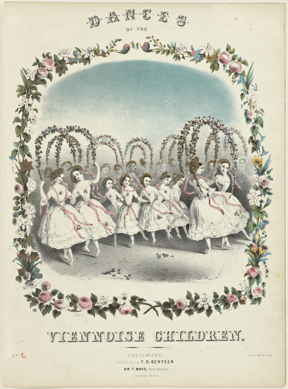 vintage book page print, dances of the Viennoise children NYPL