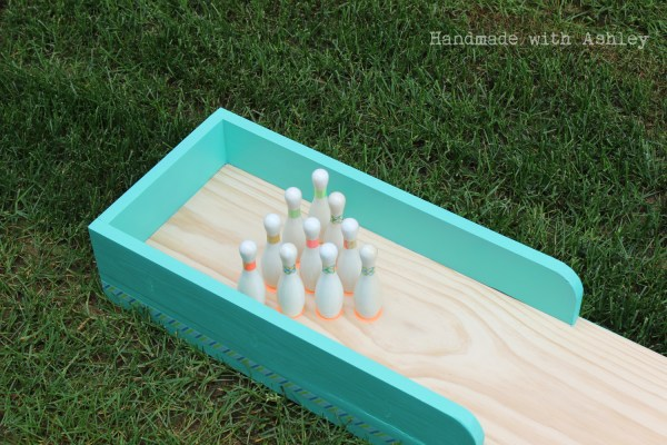 Indoor and outdoor DIY bowling lane by handmade with Ashley featured on Remodelaholic.com