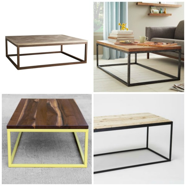 Designer metal and wood coffee table designs, Plaster and Disaster featured on Remodelaholic.com