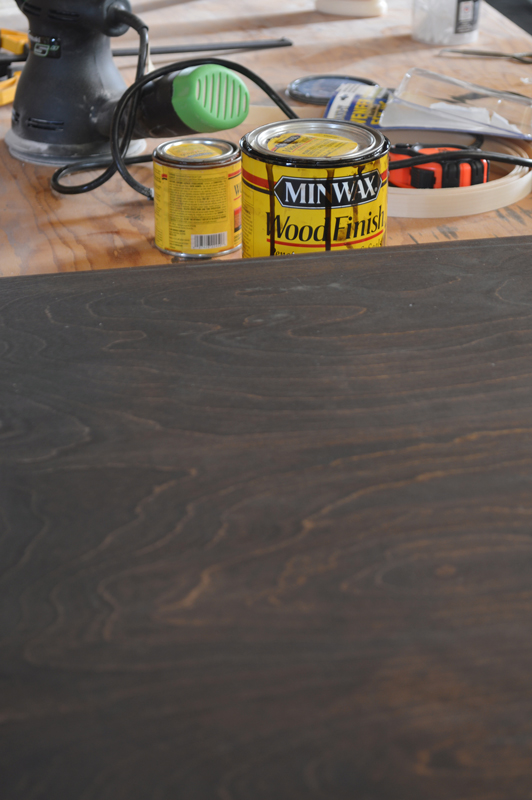 Wood top metal base coffee table DIY, Plaster and Disaster featured on Remodelaholic.com