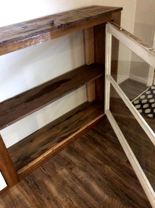 8 Console table with storage DIY from reclaimed wood and windows, The Weekend Country Girl featured on @Remodelaholic