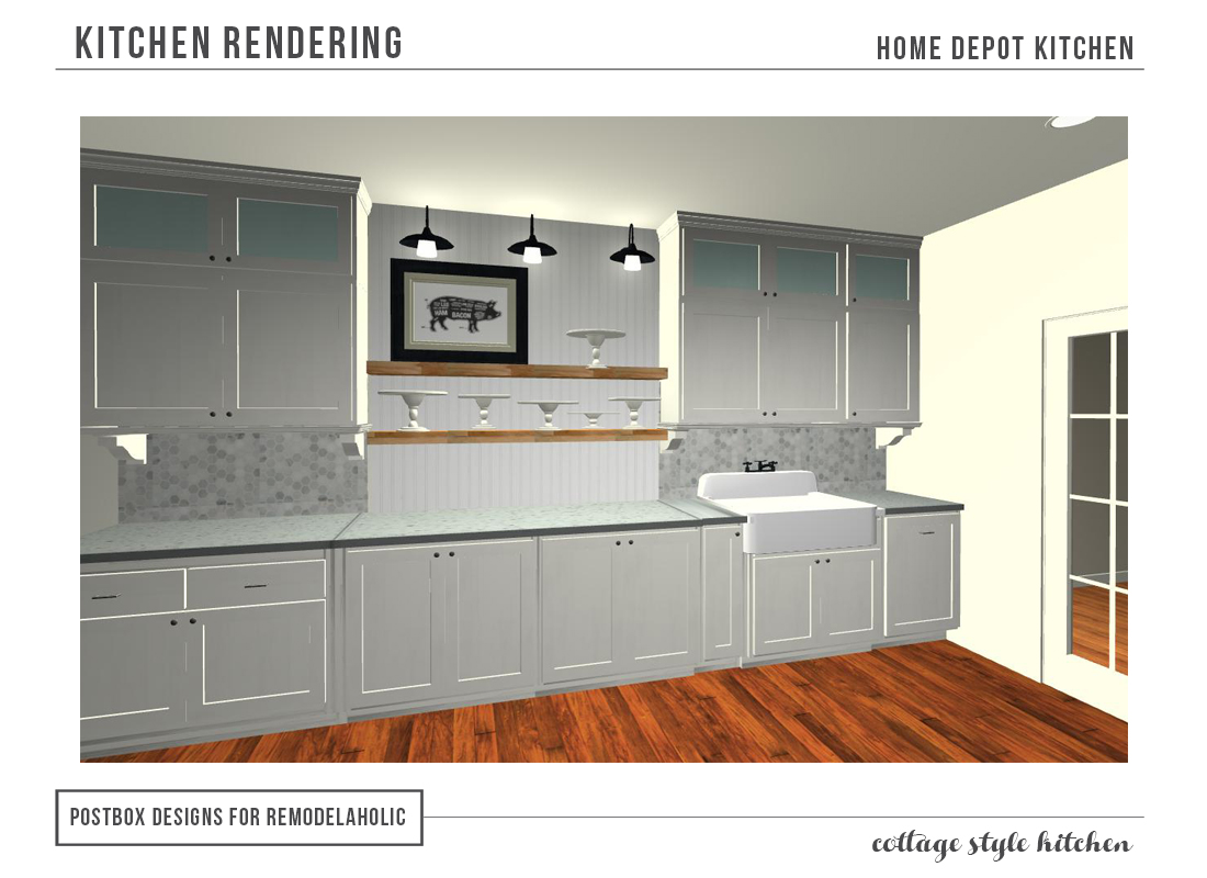 Cottage Kitchen from Home Depot rendering, Postbox Designs