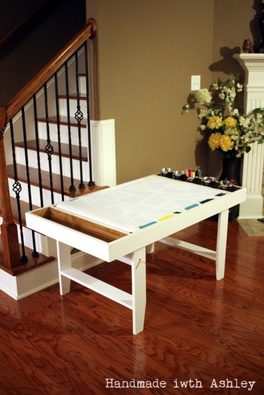 DIY kids art table with storage, handmadewithashley
