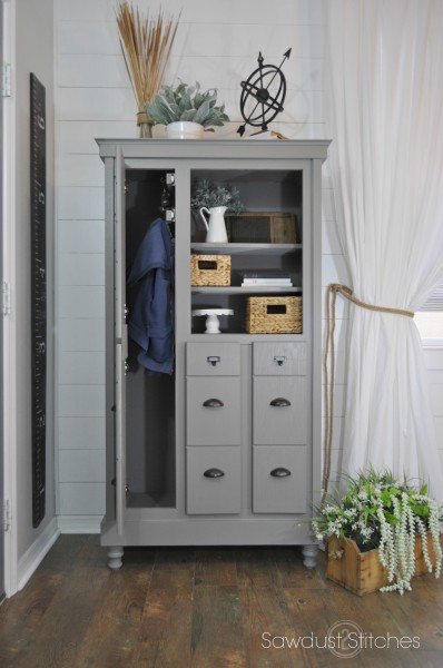 Mudroom cabinet made from a dresser | 100+ Beautiful Mudrooms and Entryways at Remodelaholic.com