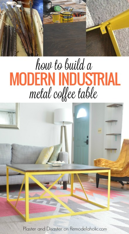 How to build a colorful and modern industrial wood and metal coffee table @Remodelaholic