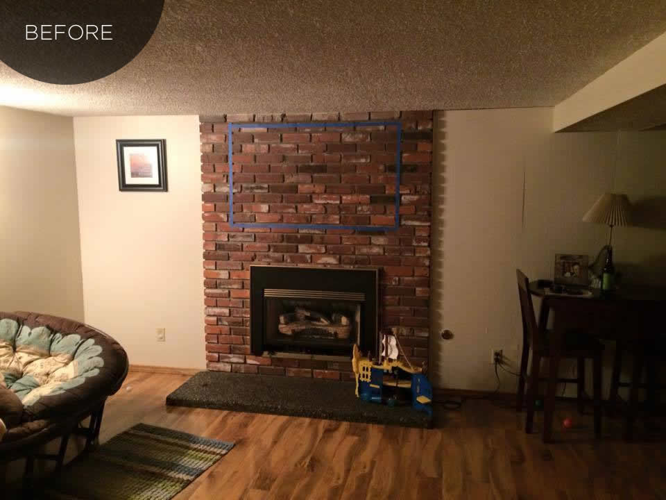 before, tv over mantel with shelves