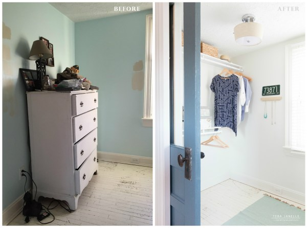 Before, a neglected corner. After, a great closet! Create a beautiful boutique-style walk-in closet. Cape Cod Walk In Closet by Tera Janelle on @Remodelaholic