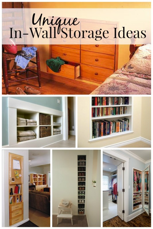 Unique In-Wall Storage Ideas via Remodelaholic.com