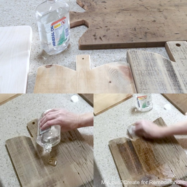 adding mineral oil to antique cutting boards, MyLove2Create for Remodelaholic