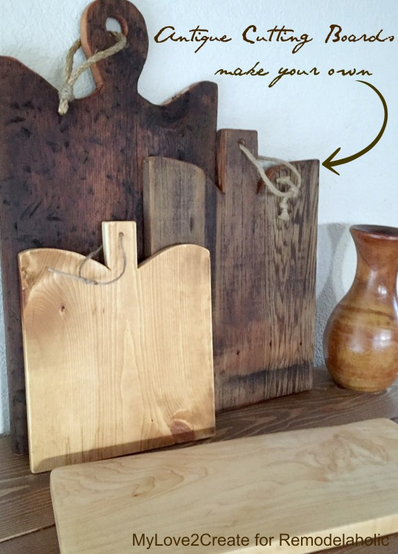 These DIY antique cutting boards are SO easy and inexpensive -- no more scouring antique shops and thrift stores trying to find a rare one, I'll just make my own! Full tutorial and templates from Mylove2create on Remodelaholic.com