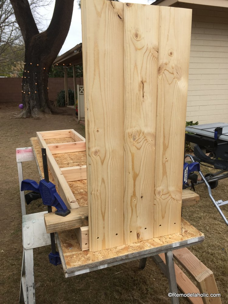 Remodelaholic build a farmhouse style tv console sideboard for Yellow pine wood doors