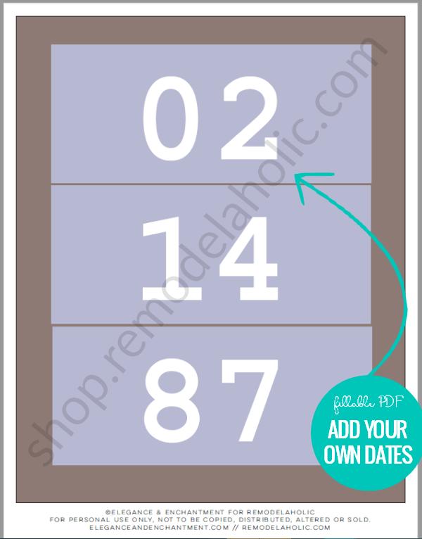 Custom Anniversary Date Art Printable, Fillable PDF #remodelaholic