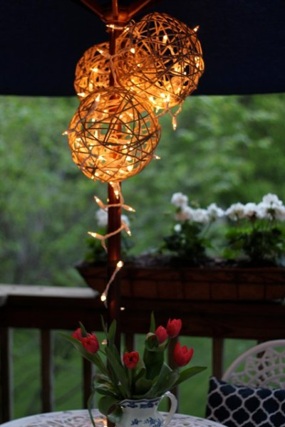 String lights are an inexpensive way to dress up so many areas in the home. Outdoor, indoor, dress them up and more. 36 Clever Ways to Use String Lights via Remodelaholic.com