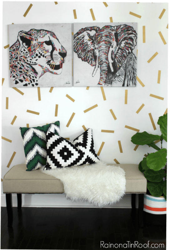 gold confetti wall entryway | 100+ Beautiful Mudrooms and Entryways at Remodelaholic.com