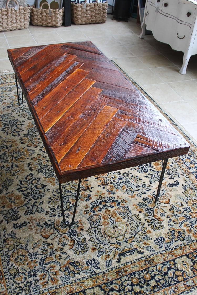 Finished herringbone wood coffee table