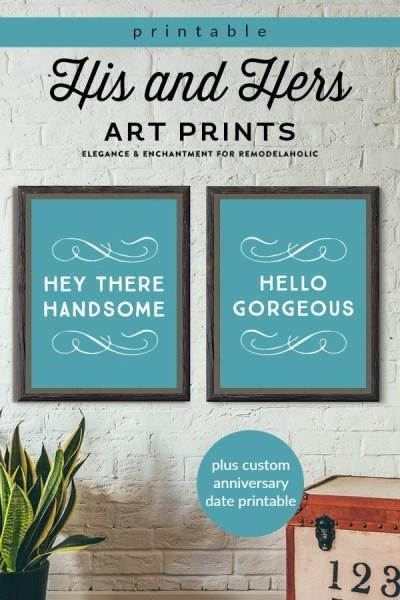 His And Hers Art Prints Plus Custom Anniversary Date Printable #remodelaholic