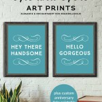 His And Hers Art Prints Plus Custom Anniversary Date Printable #remodelaholic