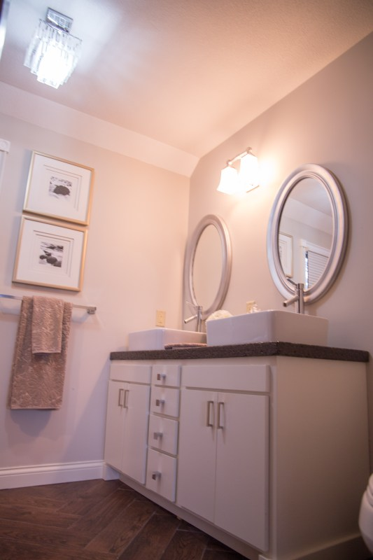 master bathroom renovation with DIY concrete countertops Construction2Style on @Remodelaholic (7)