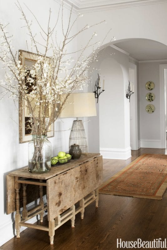 Rustic and refined entryway, LOVE the table   100+ Beautiful Mudrooms and Entryways at Remodelaholic.com