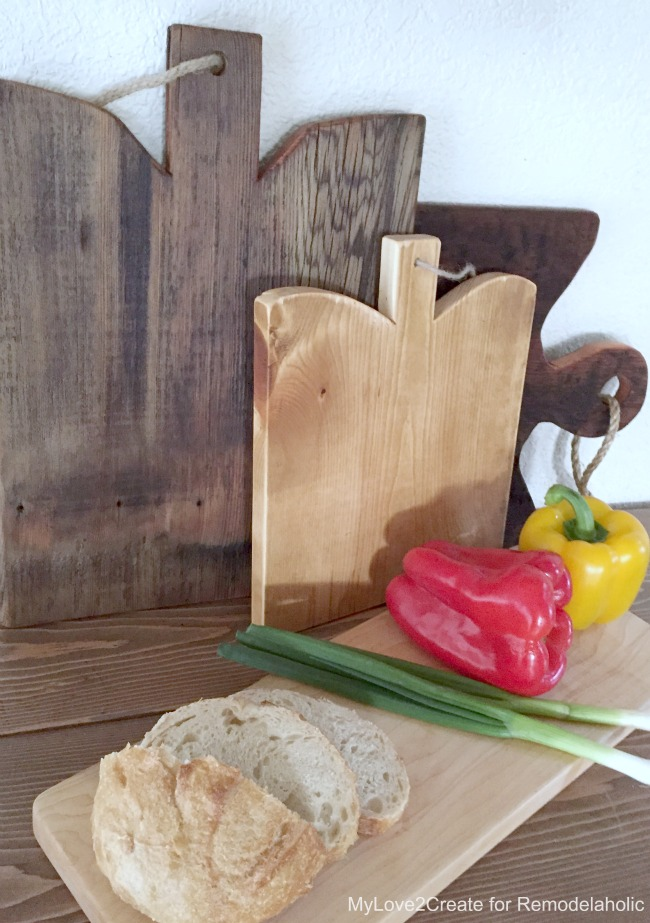 side shot of set up with cutting boards, MyLove2Create for Remodelaholic
